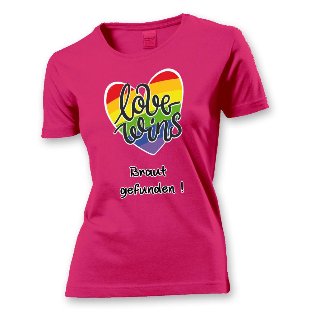 T-Shirt Love wins! Braut gefunden (Braut)